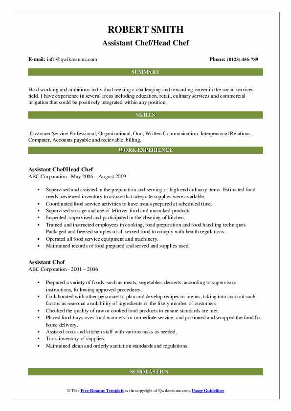 Assistant Chef/Head Chef Resume Format
