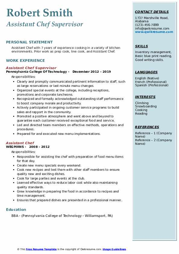 Assistant Chef Supervisor Resume Template
