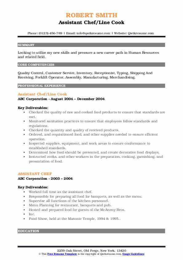 Assistant Chef/Line Cook Resume Sample