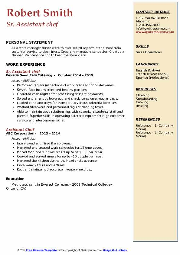 Sr. Assistant chef Resume Template