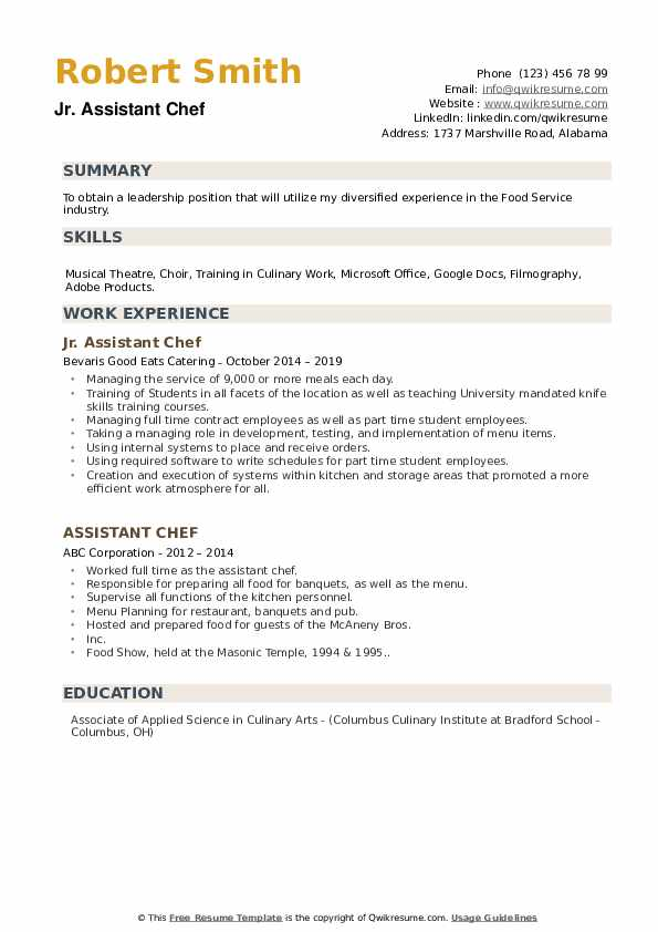 Jr. Assistant Chef Resume Template