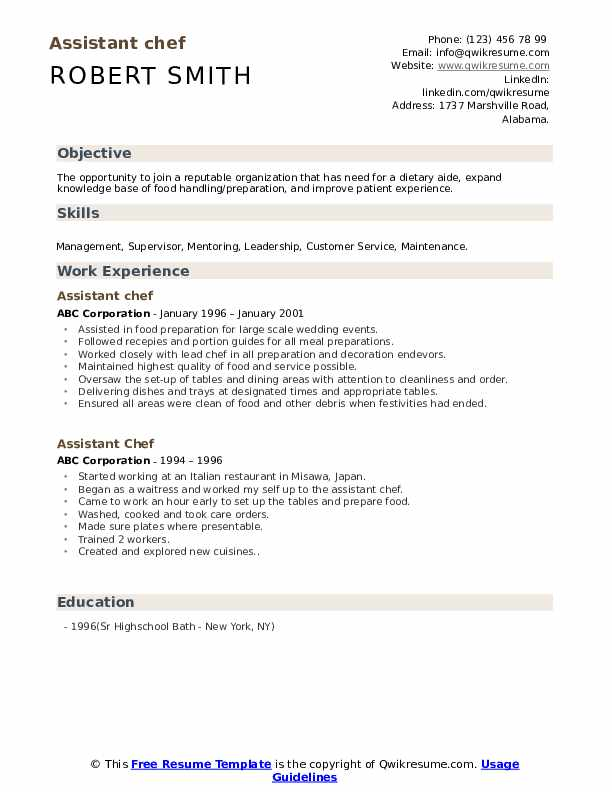 Assistant Chef Resume example