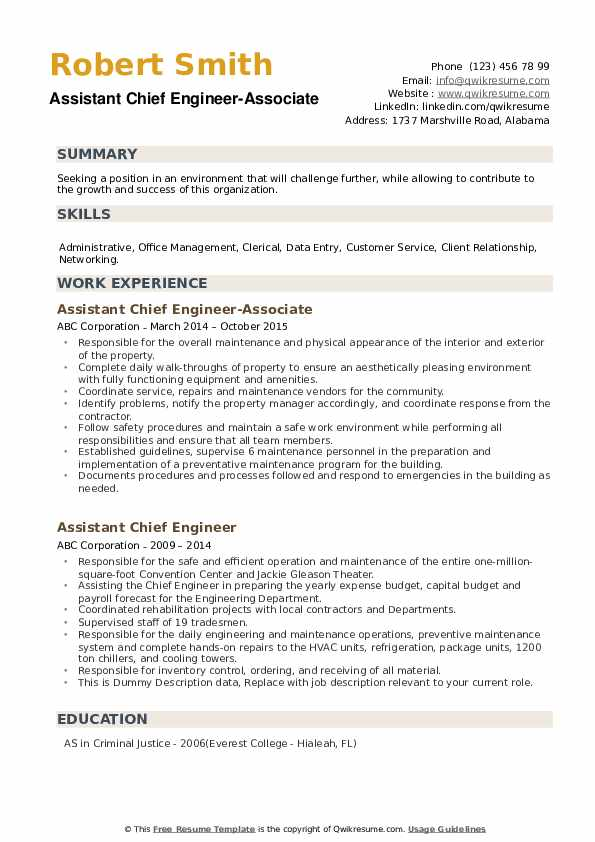 assistant chief engineer resume samples  qwikresume