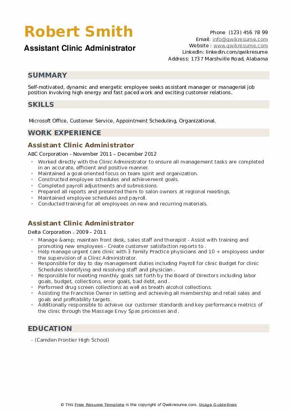 Assistant Clinic Administrator Resume example