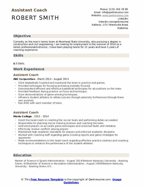 Assistant Coach Resume Samples Qwikresume