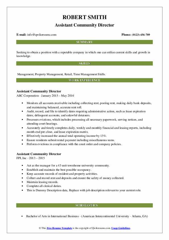Assistant Community Director Resume example