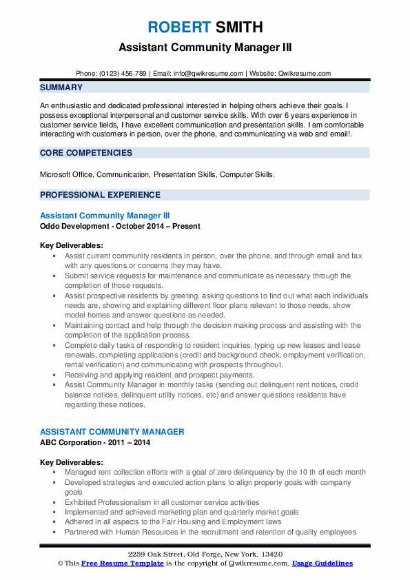Assistant Community Manager III Resume Sample