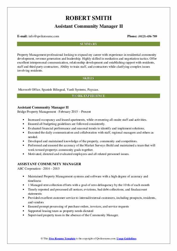Assistant Community Manager II Resume Model