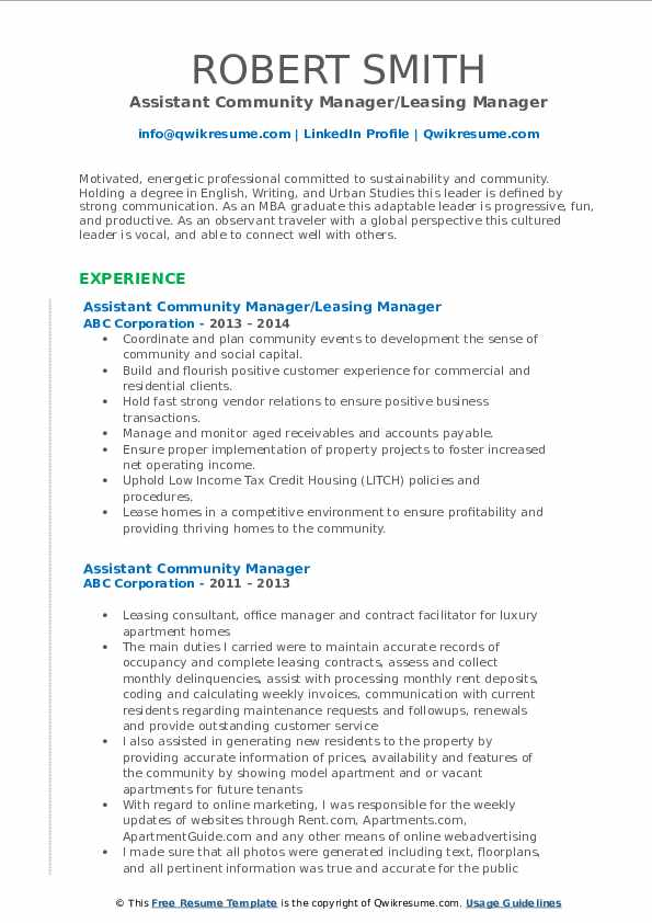 Assistant Community Manager/Leasing Manager Resume Example