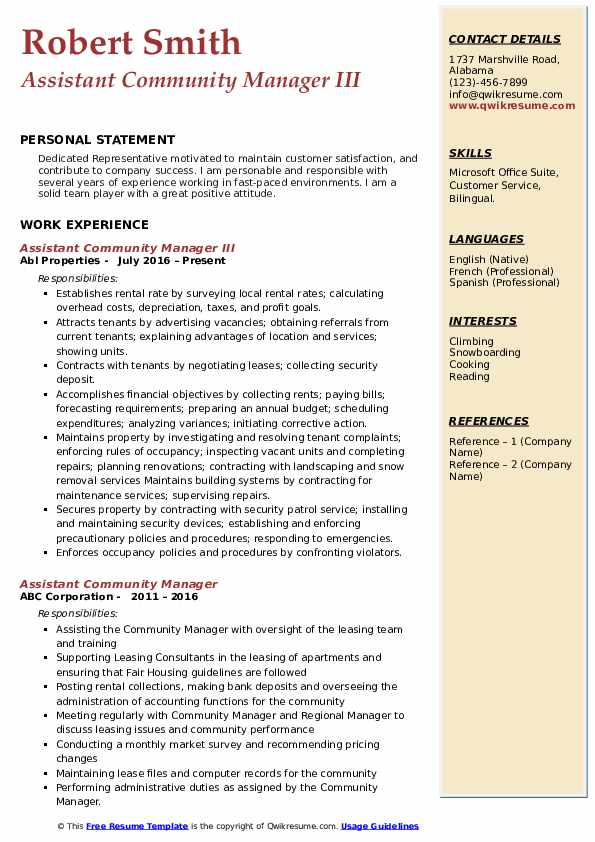 Assistant Community Manager III Resume Model