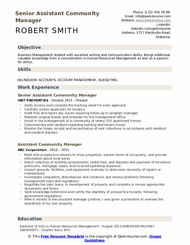 Senior Assistant Community Manager  Resume Example