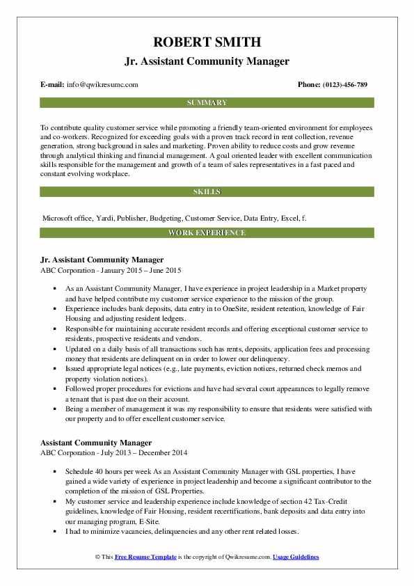 Jr. Assistant Community Manager Resume Template