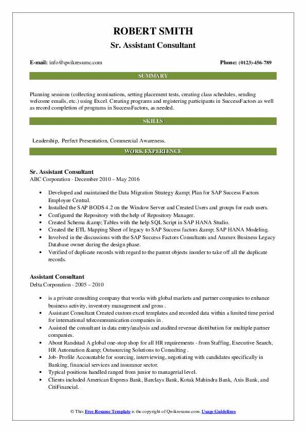 assistant consultant resume samples