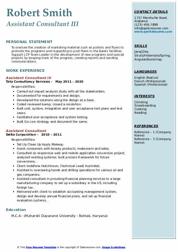 assistant consultant resume samples  qwikresume