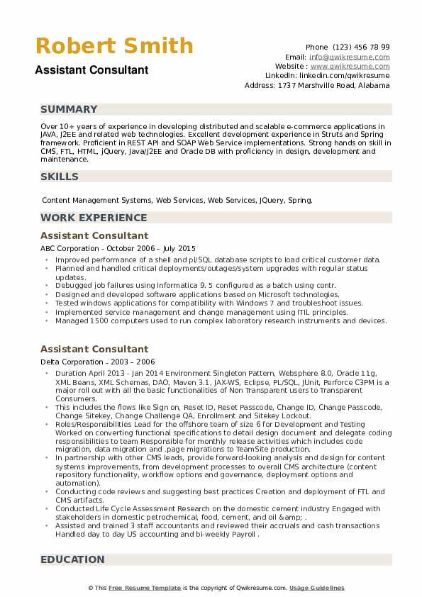 Assistant Consultant Resume example