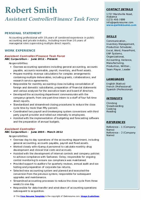 Assistant Controller/Finance Task Force Resume Format