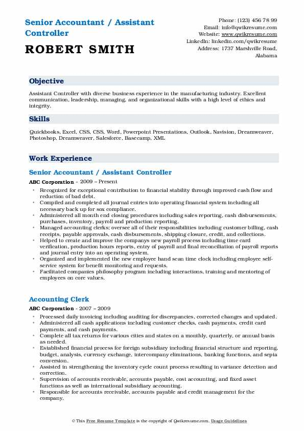 Senior Accountant / Assistant Controller Resume Sample