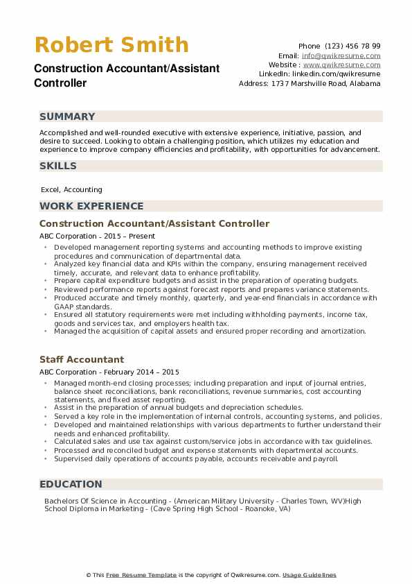 Construction Accountant/Assistant Controller Resume Model