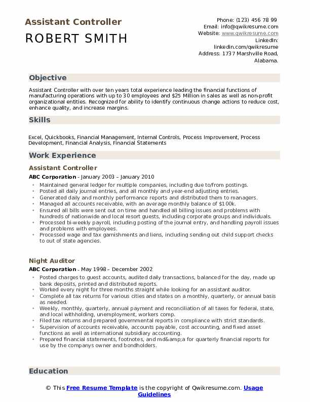 Assistant Controller Resume example