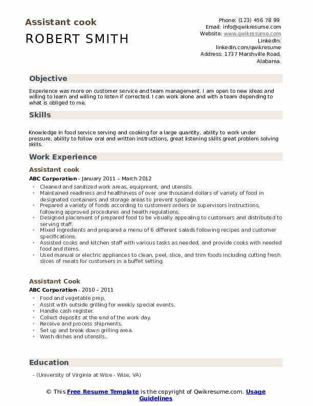 assistant cook resume samples