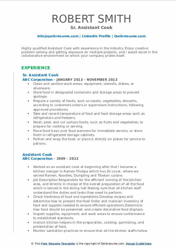 Sr. Assistant Cook Resume Example