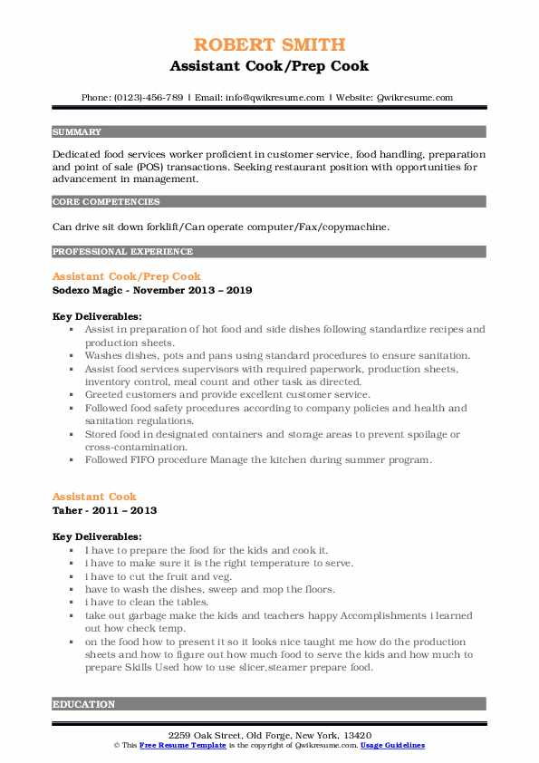 Assistant Cook/Prep Cook Resume Template