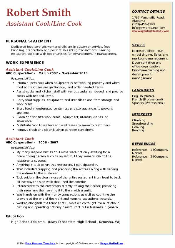 Assistant Cook Resume Samples Qwikresume