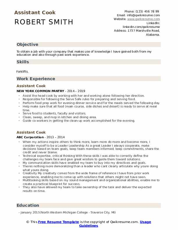 Assistant Cook Resume example