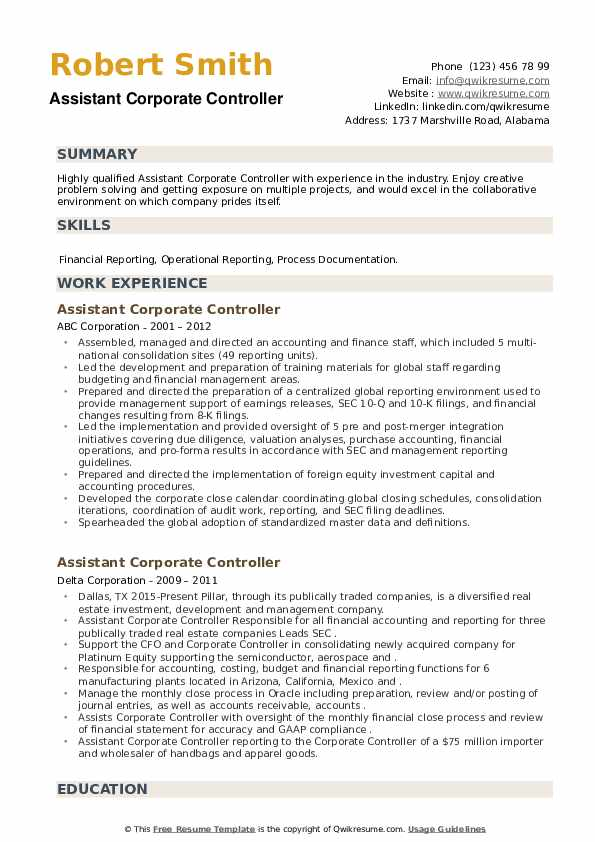 Assistant Corporate Controller Resume example
