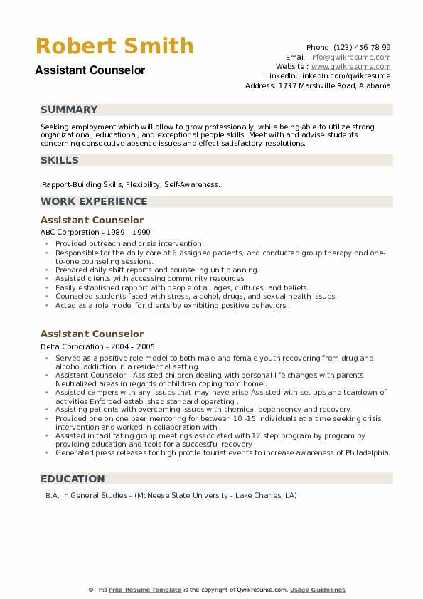 Assistant Counselor Resume example