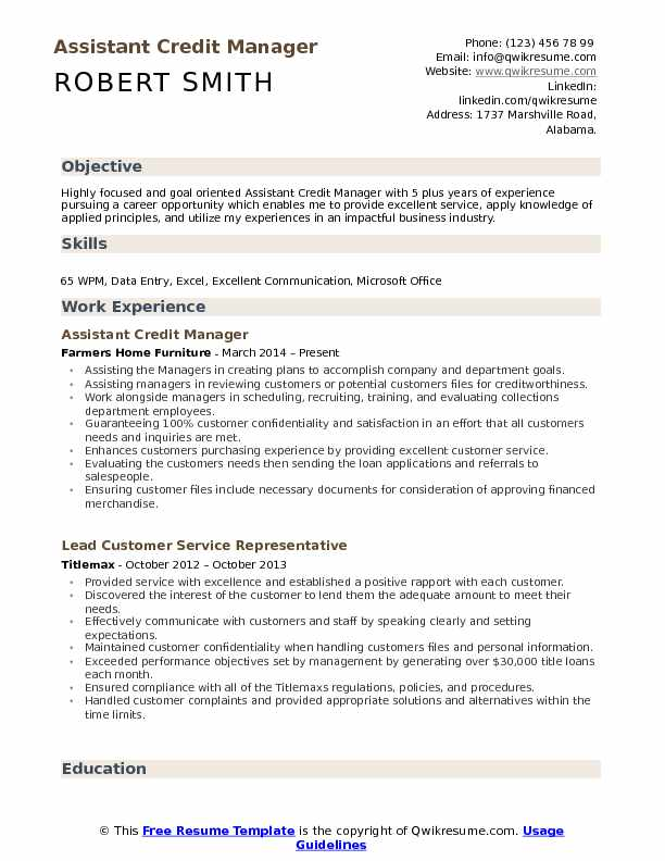 Assistant Credit Manager Resume Format