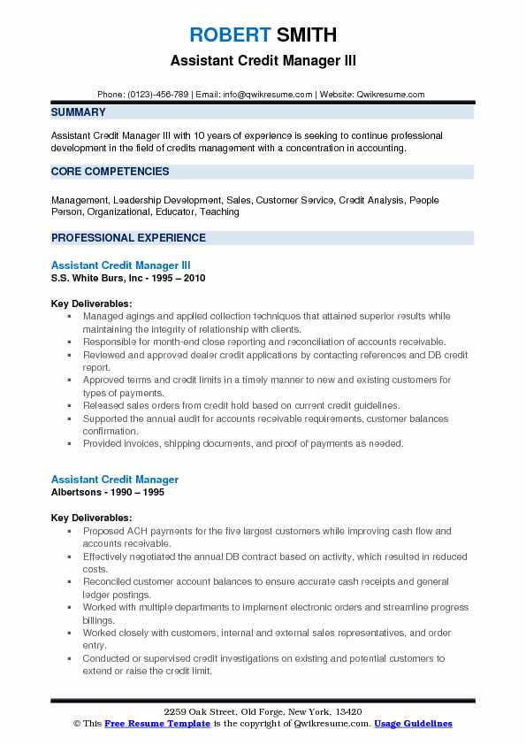 Assistant Credit Manager III Resume Example