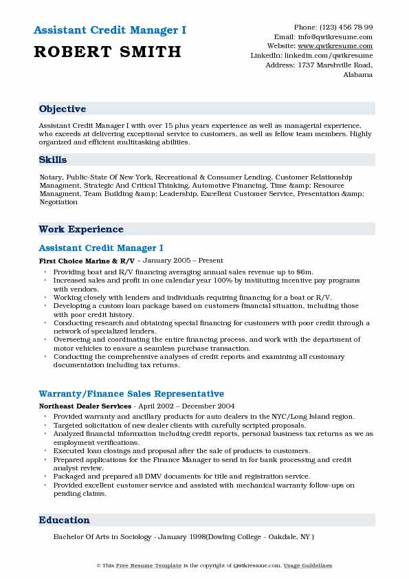 Assistant Credit Manager I Resume Example