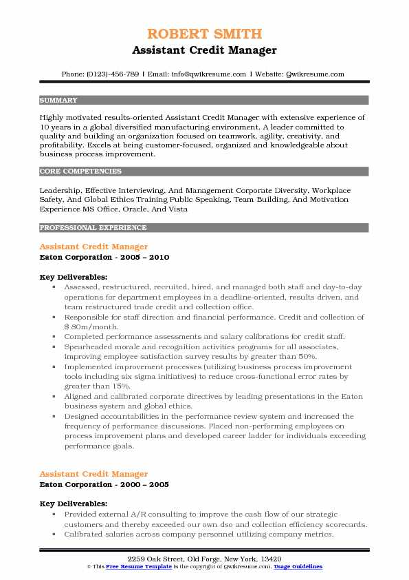 Assistant Credit Manager Resume Model