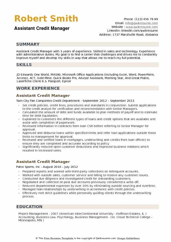 Assistant Credit Manager Resume example