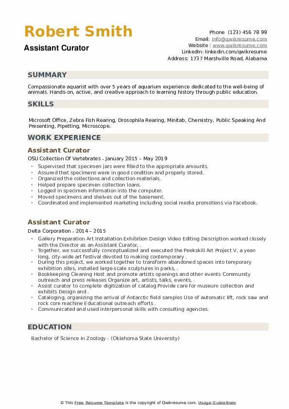 Assistant Curator Resume example