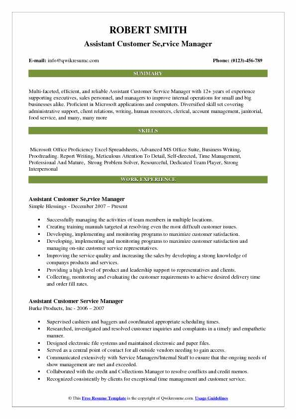 Assistant Customer Se,rvice Manager Resume Sample