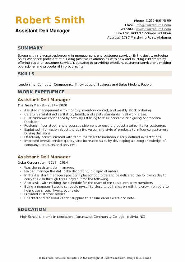 Assistant Deli Manager Resume example