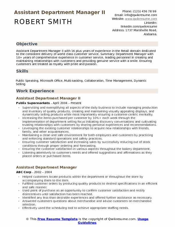 Assistant Department Manager II Resume Sample