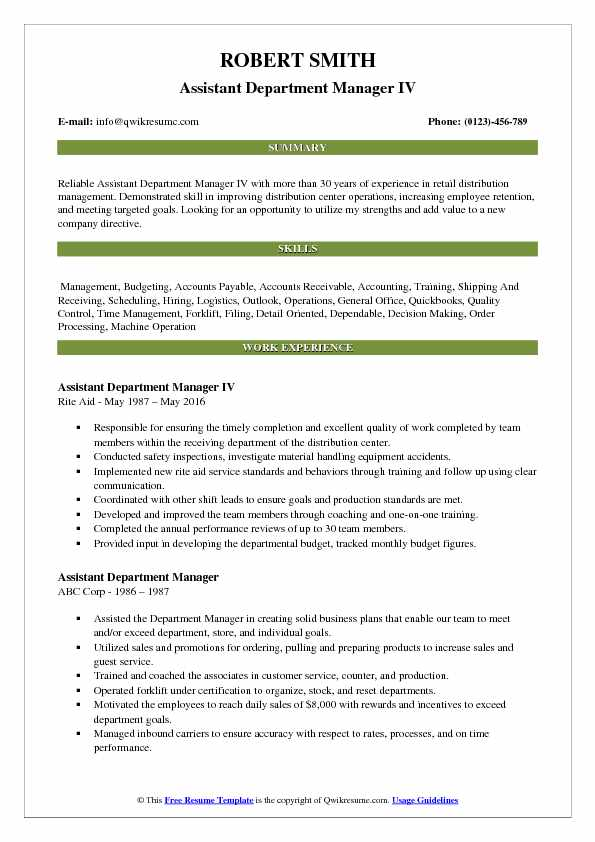 Assistant Department Manager IV Resume Format
