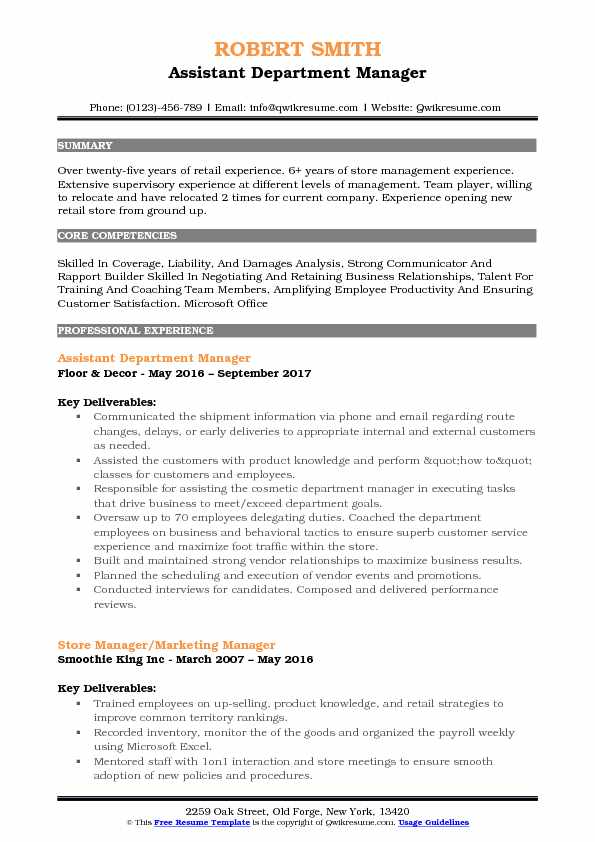 Assistant Department Manager Resume Example