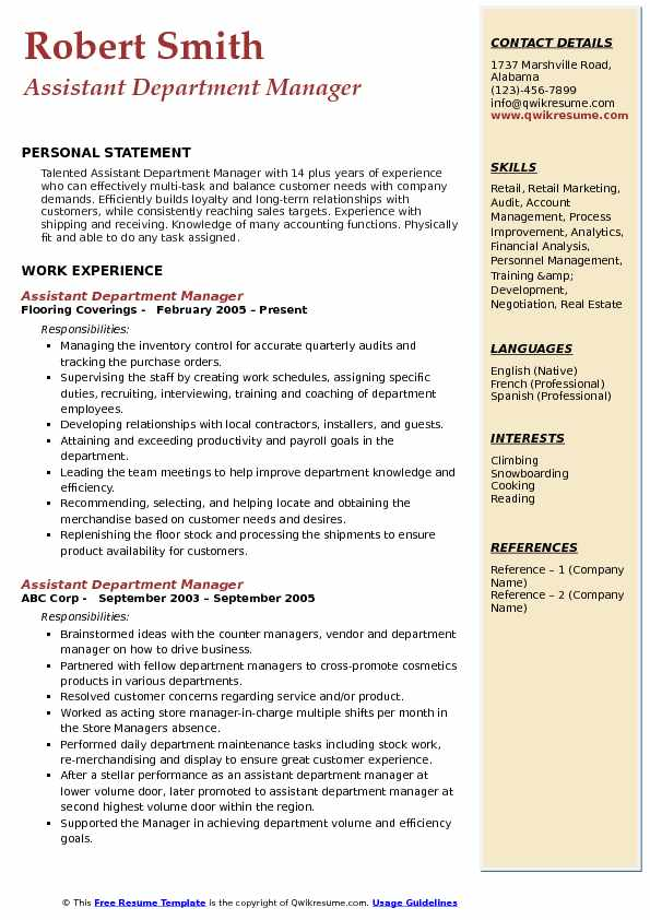 Assistant Department Manager Resume Sample