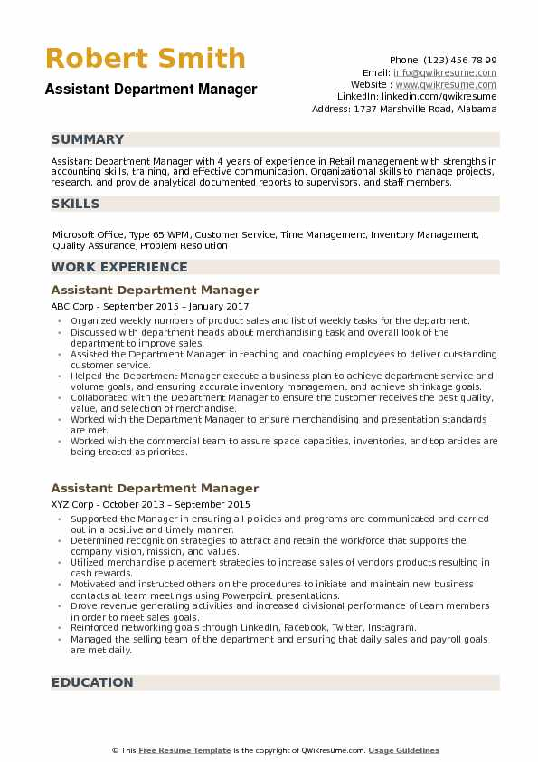 department manager resumes - Hizir kaptanband co