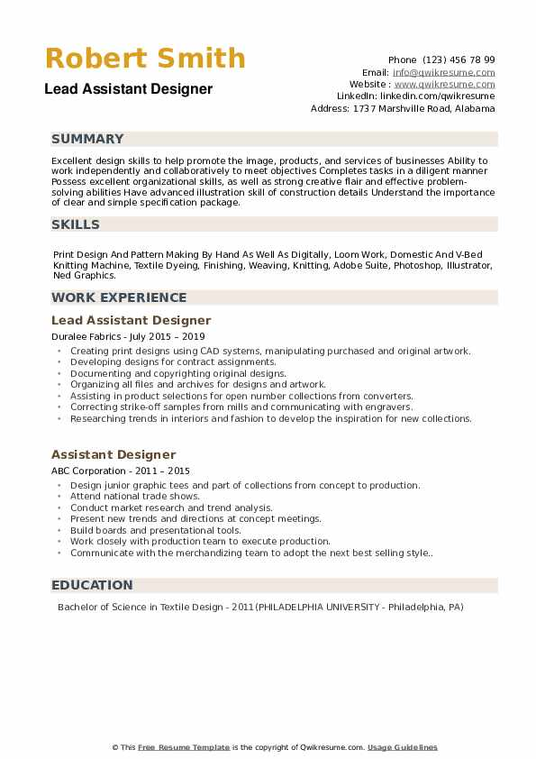 Assistant Designer Resume Samples Qwikresume
