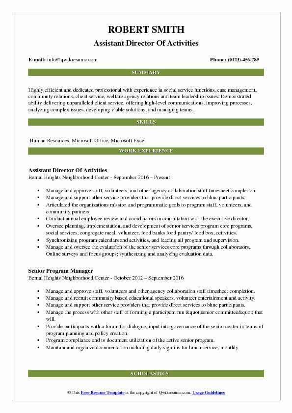 Assistant Director Of Activities Resume Template