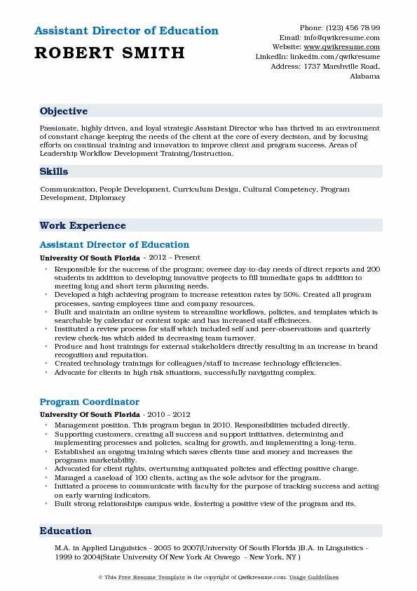 Assistant Director of Education Resume Example