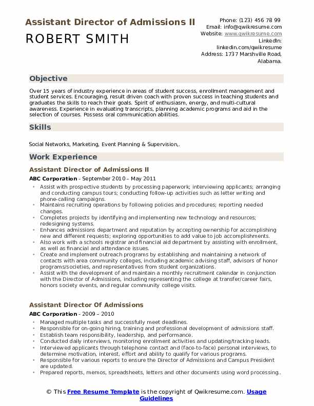 assistant director of admissions resume samples