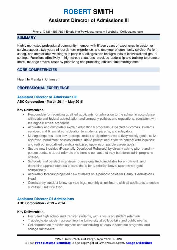 Assistant Director of Admissions III Resume Model