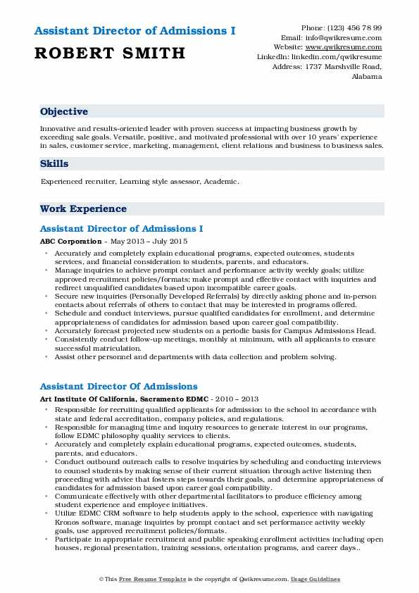 Assistant Director of Admissions I Resume Template