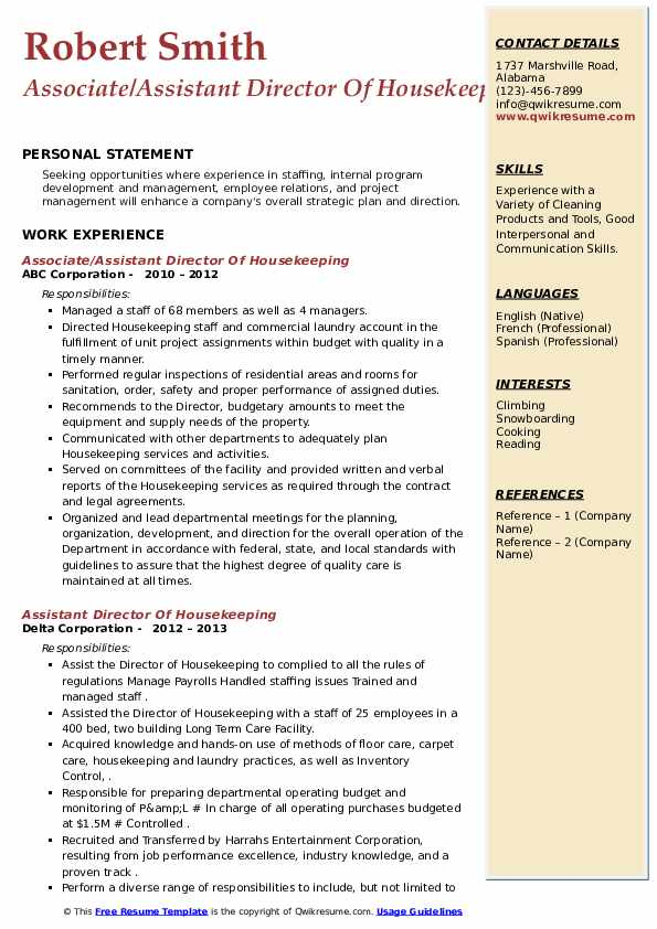 assistant director of housekeeping resume samples